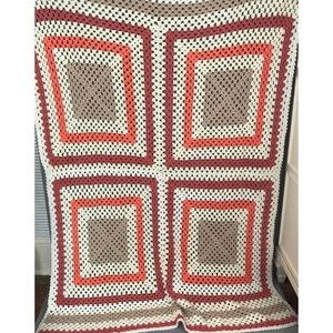 Bedding - Crochet Orange and tan throw blanket metallic